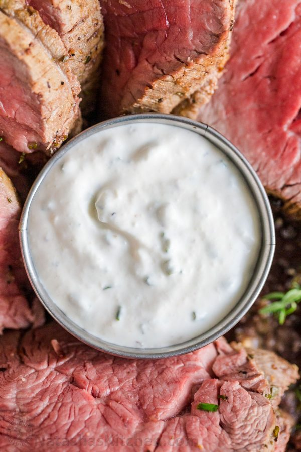 Horseradish sauce served in a pan with beef tenderloin