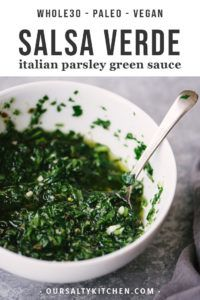 A bowl of green sauce: a vegan, whole sauce of Italian green parsley.