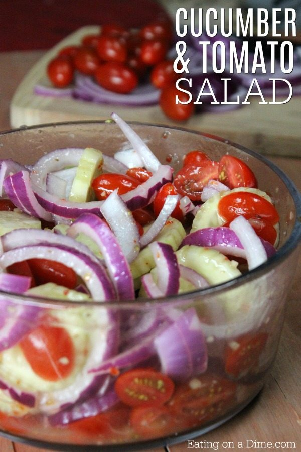 You will love this tomato and cucumber salad recipe. This quick and easy tomato and cucumber onion salad recipe is perfect for a summer salad recipe.