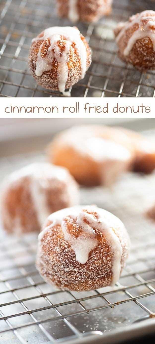 ¡Rosquillas simples mezcladas con canela y azúcar y rociadas con un glaseado dulce y pegajoso!