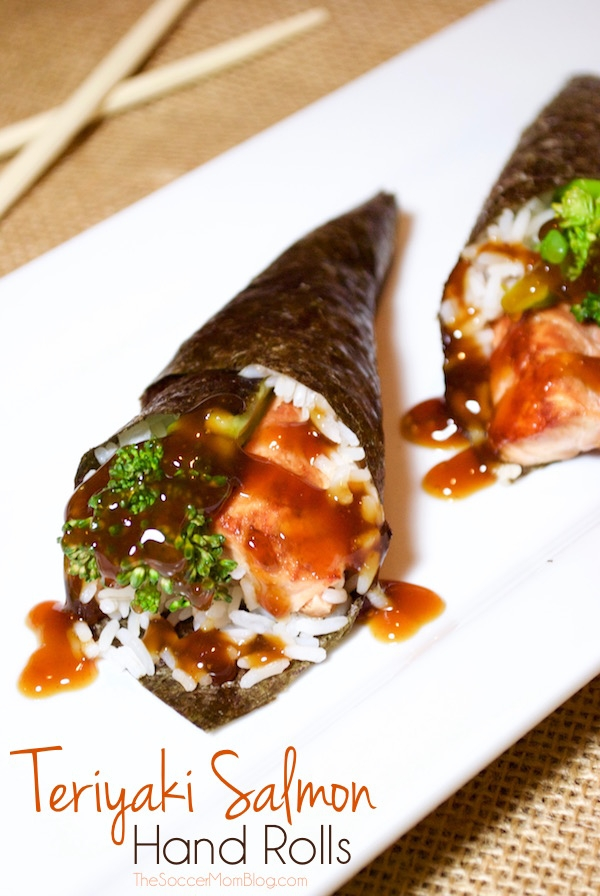 A fun sushi twist you can make at home! Teriyaki Salmon Rolls are a simple and healthy seafood recipe that everyone in the family will love!