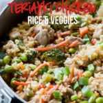 Sartén de pollo con arroz y verduras teriyaki