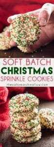 Soft Batch Christmas Sprinkle Cookies es una galleta de azúcar de vacaciones súper fácil: ¡no se necesita rodar la masa! Repleto de chispas rojas y verdes, ¡perfecto para las vacaciones! ¡Estas galletas de azúcar espolvoreadas son las mejores y más fáciles galletas navideñas!