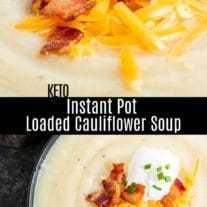 Esta sencilla sopa de coliflor cargada en una olla instantánea es una rica y cremosa receta de olla a presión baja en carbohidratos, ceto, hecha con algunos ingredientes simples. Es una gran receta de cena ceto o una receta baja en carbohidratos para el otoño o el invierno. ¡La sopa de coliflor es la receta de maceta instantánea perfecta para el otoño! #instantpot #instantpotrecipes #pressurecooker #cauliflower #soup #keto #lowcarb #homemadeinterest