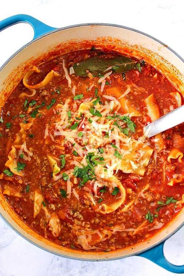 sopa de lasaña Una sopa de lasaña fácil