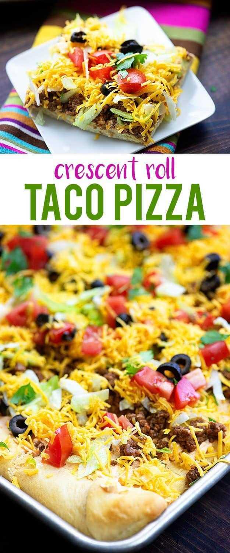 Pizza de media luna llena con los mejores ingredientes para tacos. ¡Comida de fútbol perfecta o aperitivo para una reunión! # refrigerios # aperitivos # footballfood #tacos