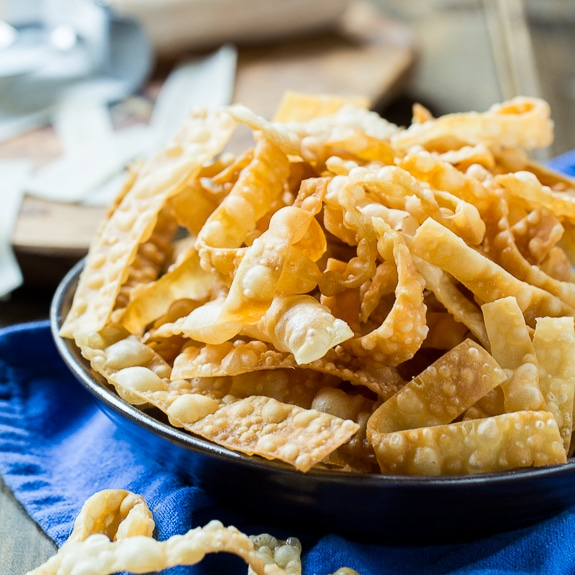 Fried Wonton Strips - Only 2 Ingredients Needed