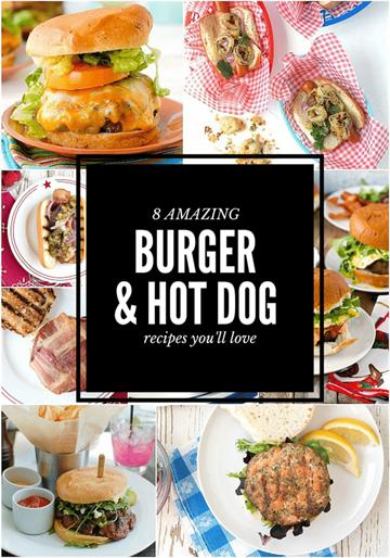 8 increíbles collage de fotos de hamburguesas y perritos calientes