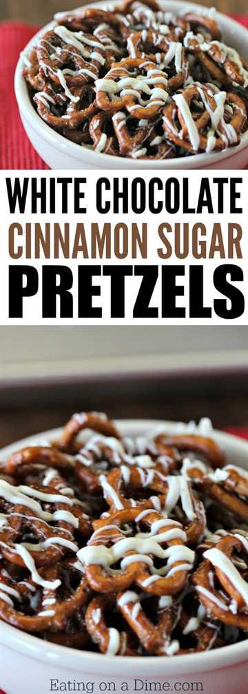 Las mejores delicias de pretzel: pruebe esta rápida y fácil receta de pretzels de azúcar con canela y chocolate blanco. Será tu nuevo aperitivo favorito de pretzel.