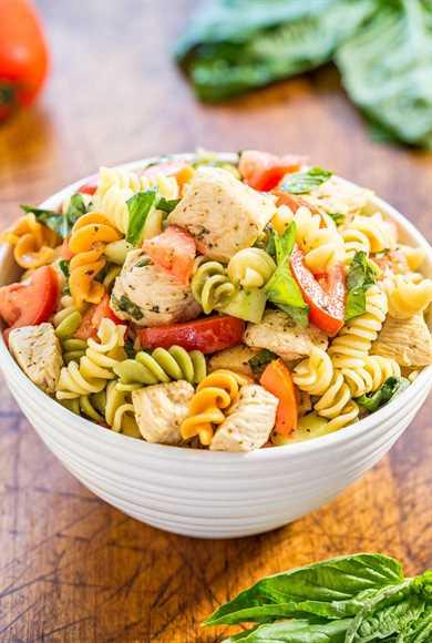 Ensalada italiana de pasta con pollo: ¡fácil, lista en 20 minutos y saludable! Rebosante de sabores frescos de jugosos tomates, pepino, albahaca, parmesano y pollo tierno en una vinagreta de limón picante.