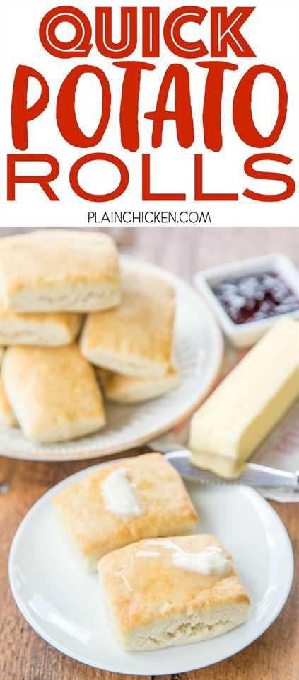 Rollos de papa rápidos - ¡listos en 15 minutos! ¡No te levantes! Mezclar, presionar, cortar y hornear. Perfecto para el desayuno, el almuerzo o la cena. Copos de papa instantáneos, azúcar, mantequilla, agua y Bisquick. ¡Sirve las galletas con mantequilla, miel, jarabe o mermelada! ¡Estos rollos salen volando del plato! ¡A todos les ENCANTA esta receta fácil de pan!