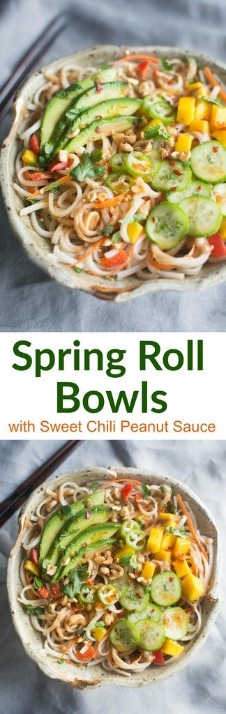 All the flavor you love from fresh spring rolls, transformed into delicious Spring Roll Bowls with Sweet Chili Peanut Sauce. Tastes better from scratch