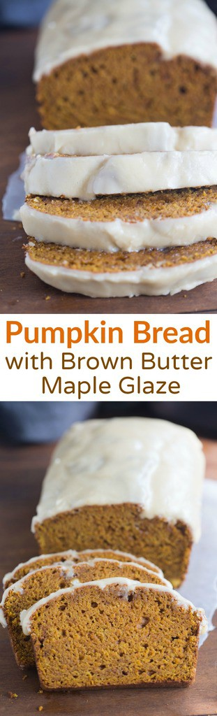 The BEST Incredibly Moist Pumpkin Bread with a Brown Butter Maple Glaze that will make you pass out with every bite! The | Tastes better from scratch