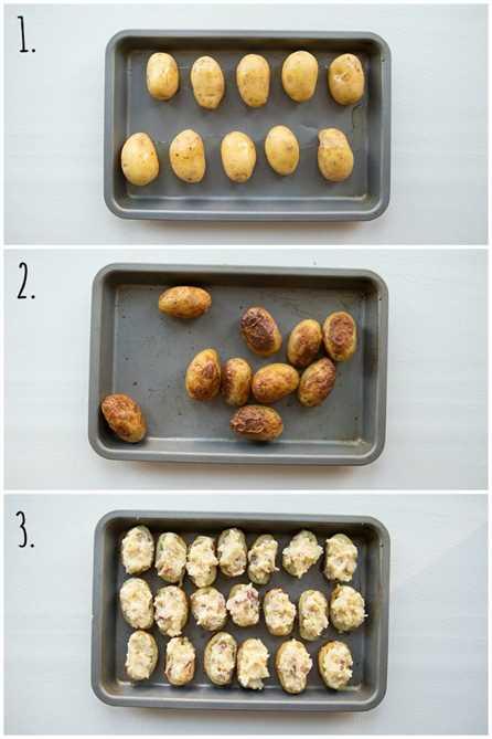 Cómo hacer mini papas dos veces horneadas - en 3 pasos