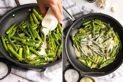 Dos imágenes que muestran la salsa casera hecha con espárragos salteados.