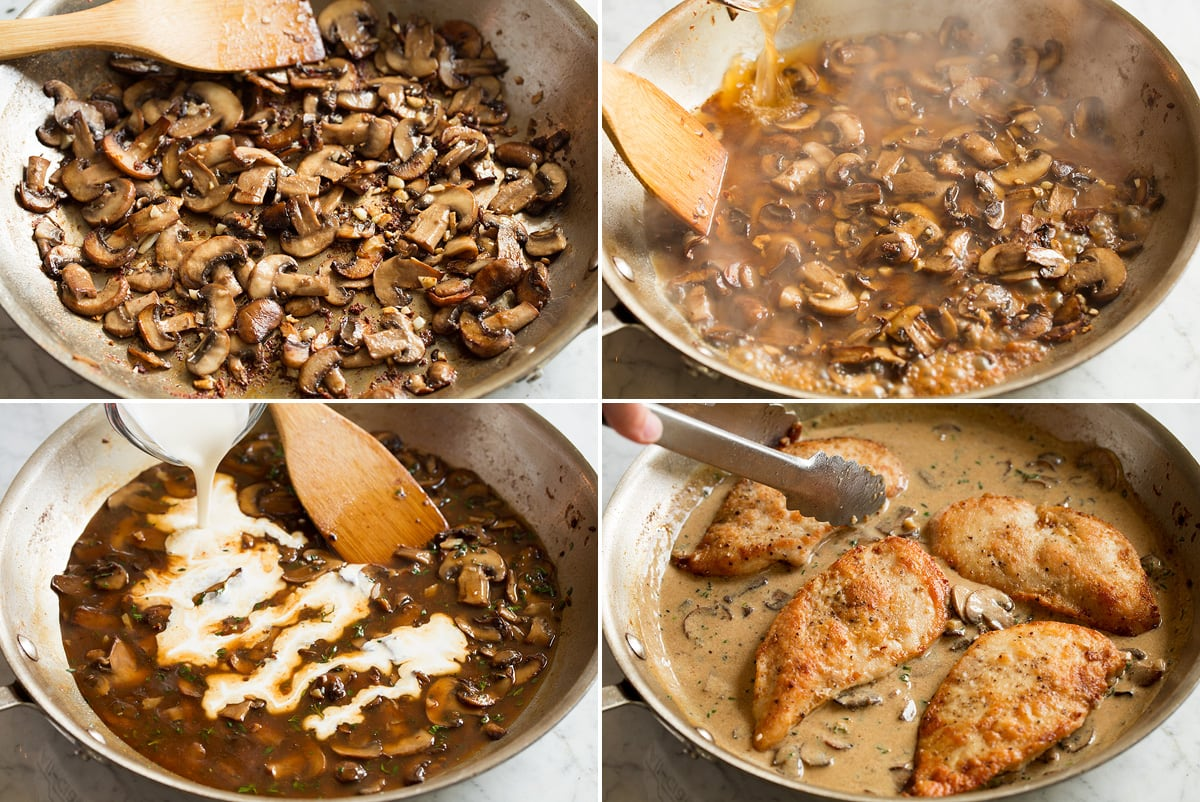 Image showing the steps for making marsala chicken wine sauce, including sautéing mushrooms in a pan, adding wine, and adding cream. Then cooked chicken breasts are added to the sauce.