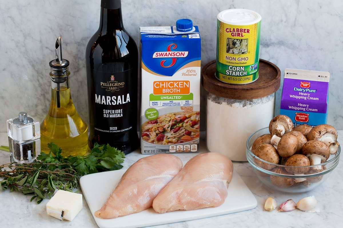 Ingredients shown here that are necessary to make chicken marsala.