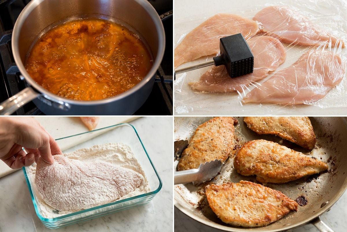 Image showing the steps to prepare chicken marsala, including reducing wine and marsala broth in a saucepan. Hitting chicken chops, dredging flour and frying pan.