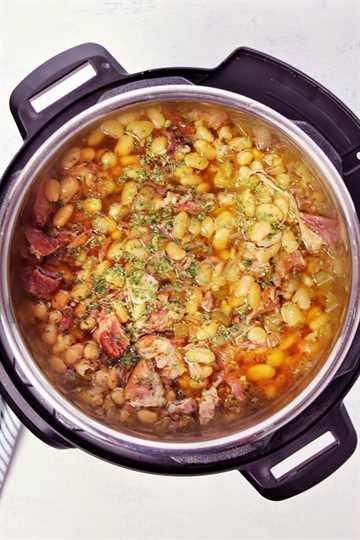 Sopa instantánea de jamón y frijoles E Sopa de jamón y frijoles (Olla instantánea)