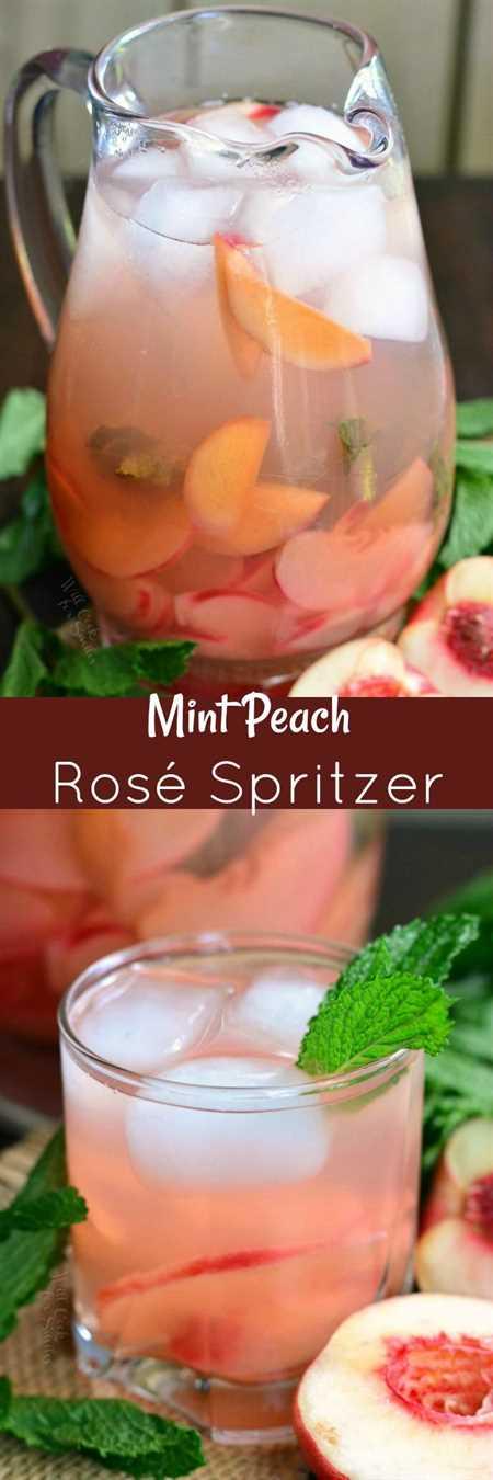 Menta Melocotón Rose Spritzer. Este hermoso Rose Spritzer está infundido con duraznos frescos y menta y está hecho con vino rosado y champán.