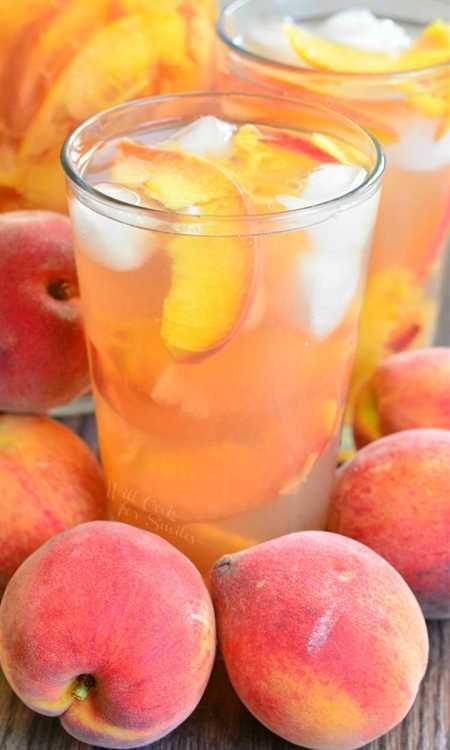 Ginger Peach y Honey Iced Green Tea. Bebida hermosa, suave y refrescante para disfrutar en estos perezosos días de verano.