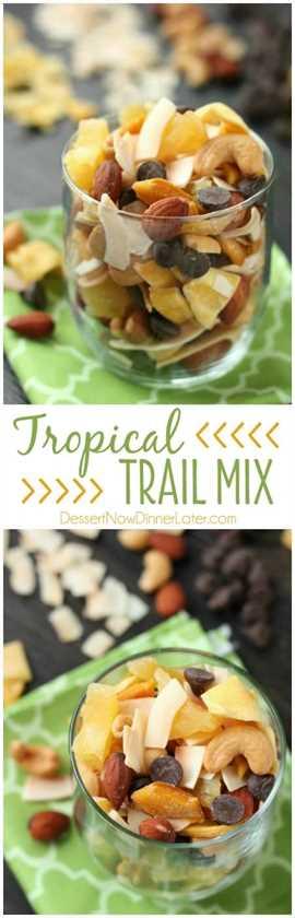 ¡Esta Tropical Trail Mix es salada, dulce y llena de sabores tropicales Sunsweet! ¡Un gran bocadillo para llevar!