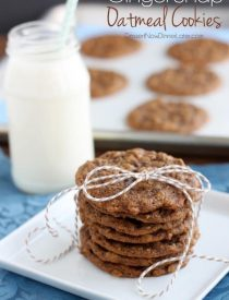 Ginger Oatmeal Cookies - Soft baked gingerbread cookies with the addition of old oatmeal to make a chewy and delicious cookie. From DessertNowDinnerLater.com
