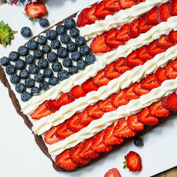 Flag brownies make a patriotic dessert for July 4th.