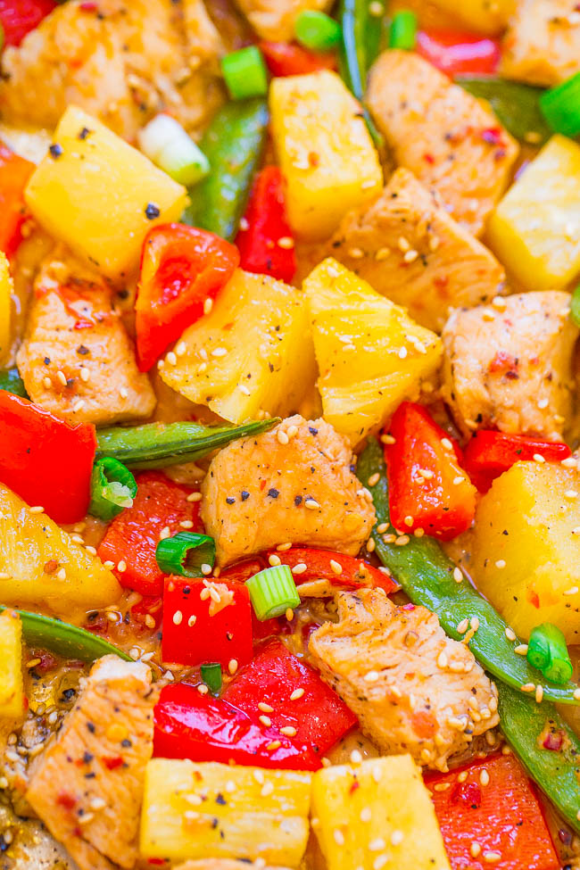Pineapple Teriyaki Chicken with Peppers and Peas