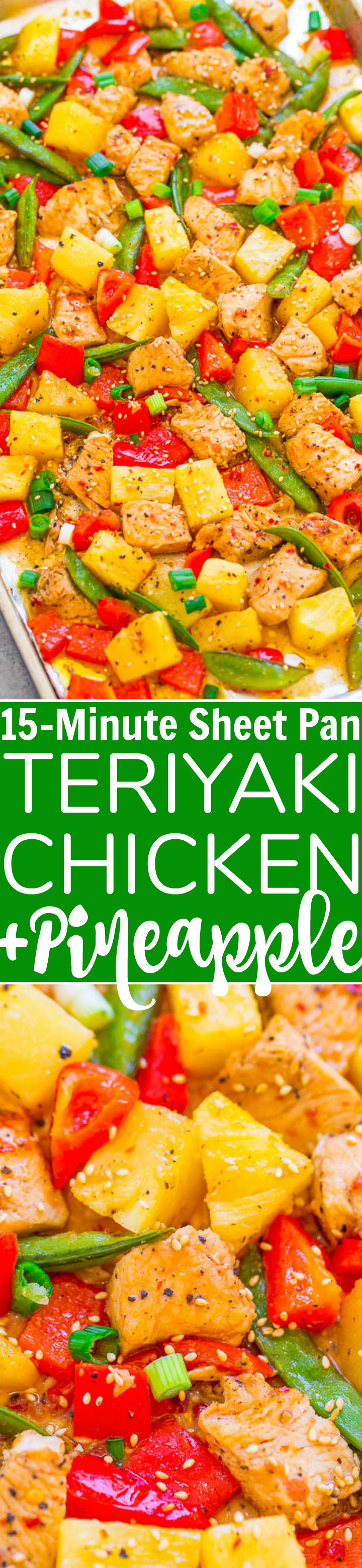 15 Minute Teriyaki Chicken and Pineapple Bread - Quick, EASY and loaded with a fabulous Teriyaki flavor! Tender chicken, juicy pineapple, and crispy, tender veggies make for a delicious skillet meal with zero cleanliness!