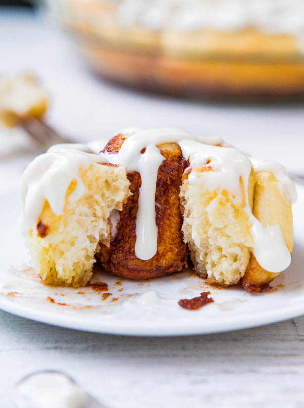 Homemade One-Hour Cinnamon Rolls with Cream Cheese Frosting - It's possible to make fluffy, light and fluffy cinnamon rolls from scratch in 1 hour! Get the recipe at averiecooks.com