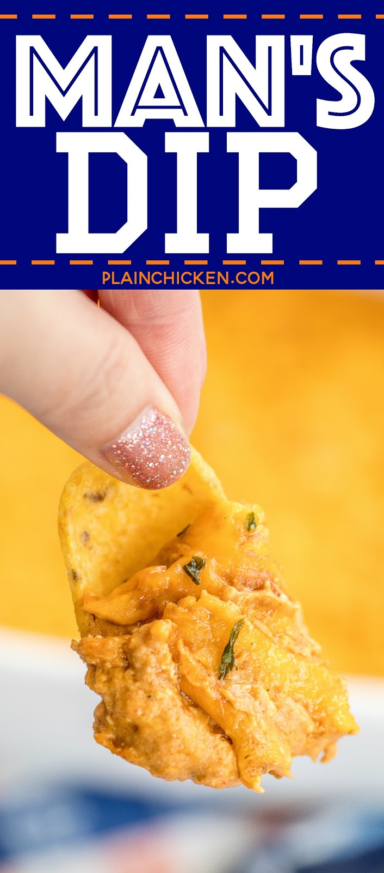Man's Dip - salsa cremosa de frijoles mexicanos con una patada. Comienza con salsa de frijoles enlatados. Agregue queso crema, crema agria, condimento para tacos, salsa picante y queso. ¡Esta fue una de las primeras cosas en nuestra fiesta! Todos pidieron la receta. #partyfood #beandip #dip