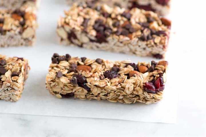 Receta de barras de granola blandas y masticables