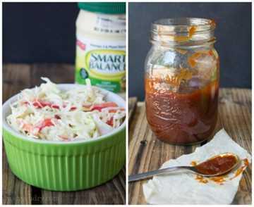 Ensalada de col picante y salsa de barbacoa dulce