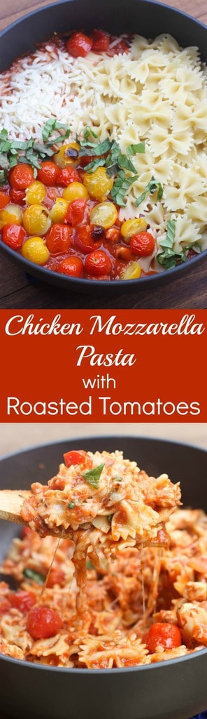 Hot and cheesy chicken mozzarella pasta with roasted tomatoes is an easy and familiar pasta that takes less than 30 minutes to make! The | Tastes better from scratch