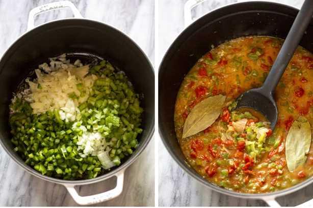 Dos fotos de proceso para hacer camarones criollos en una olla de hierro fundido blanco.