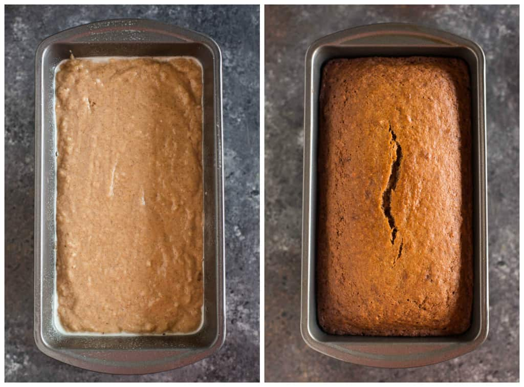 Above photos of applesauce and cinnamon on the bread tray before and after baking.