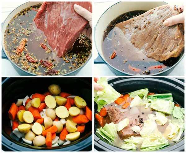 El proceso de hacer carne en conserva. Primero, salmuera la carne en conserva en una salmuera, luego retírela de la olla. Agregue las papas y las zanahorias picadas en una olla de cocción lenta y luego agregue la carne de res y el repollo encima.