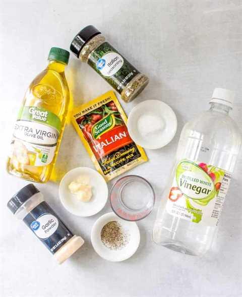 Good Seasonings Aderezo italiano, condimento italiano, sal de mesa, pimienta negra, azúcar, ajo en polvo, mayonesa, aceite de oliva, vinagre blanco, agua