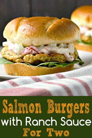 Hamburguesas de salmón con salsa de rancho Receta para dos