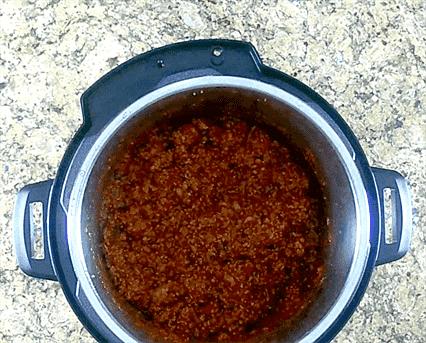 chile instantáneo en una olla