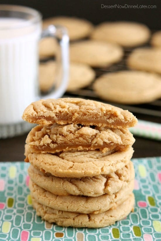These thick, chewy peanut butter cookies are slightly crisp on the outside, tender and soft on the inside, plus just take them out and bake them! No rolling in sugar or pressing with a fork required!
