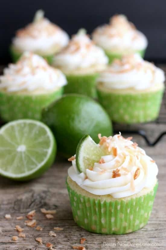 These lime and coconut cupcakes are the perfect blend of tropical and citrus flavors, with a lime and coconut cupcake base, coconut cream cheese and toasted coconut icing on top!