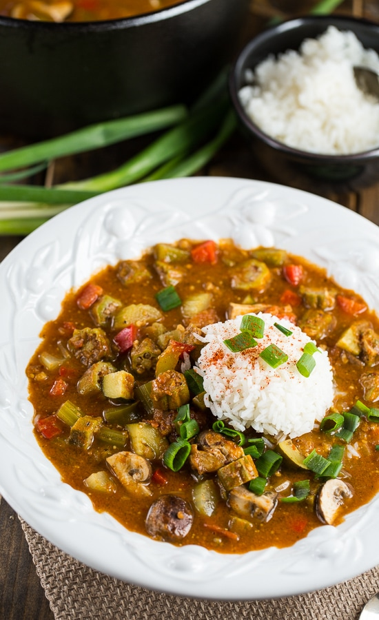 Vegetarian gumbo made with rich, dark roux and okra, mushrooms, bell peppers, zucchini, and red beans.