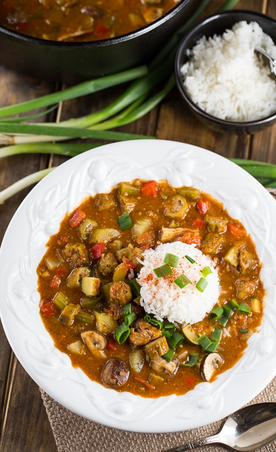 Vegetarian gumbo made with rich, dark roux and red beans, okra, bell peppers, and mushrooms.