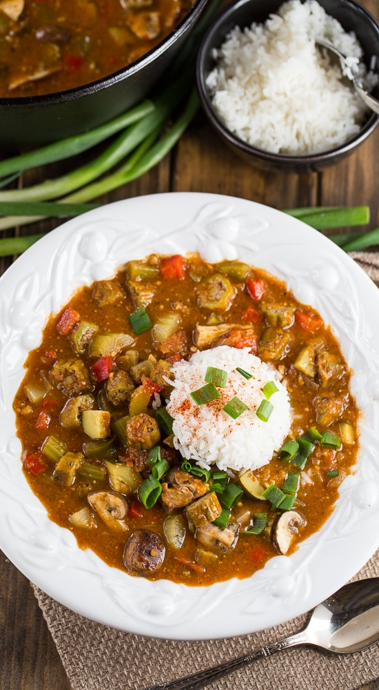 Vegetarian gumbo made with a rich, dark roux and red beans, okra, mushrooms, zucchini, and peppers.