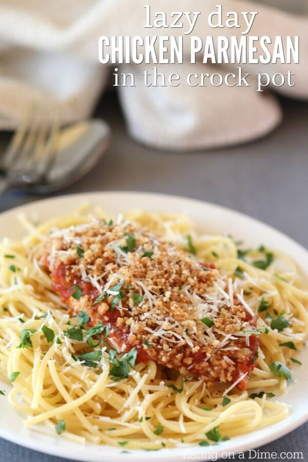 Crock Pot Chicken Parmesan is so easy and delicious. Try making this slow cooker chicken parmesan. Your family will love the Crock Pot Chicken Parmesan recipe.