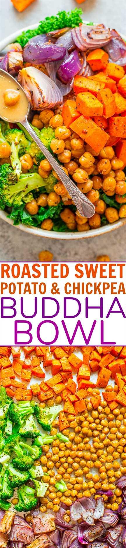 Tazón de Buda asado de camote y garbanzos: ¡un gran recipiente redondo lleno de bondad como Buda! ¡Los cuencos son rápidos, FÁCILES, naturalmente veganos y sin gluten! Si necesita una receta SALUDABLE que sepa a comida casera, ¡esta es!