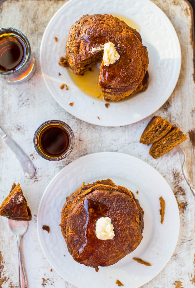 Fluffy Gingerbread Pancakes with Ginger Molasses Maple Syrup - Pancakes that taste like gingerbread cookies! Easy recipe at averiecooks.com