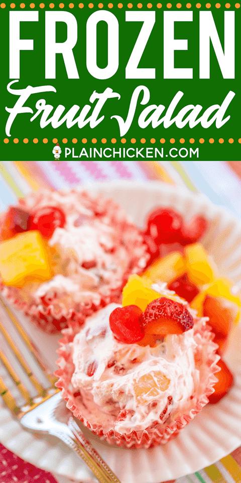 Ensalada de frutas congeladas - postre fácil y delicioso !!! Queso crema, látigo fresco, cerezas, piña, fresas, coco y nueces. Prepare con anticipación y mantenga congelado hasta que esté listo para servir. ¡Ideal para todas tus comidas al aire libre de verano! ¡Una excelente manera de combatir el calor este verano! # postre #fruta # ensalada de frutas #frozen
